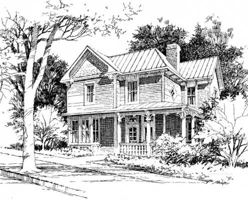 Pen & Ink Architectural Rendering of Victorian Residence