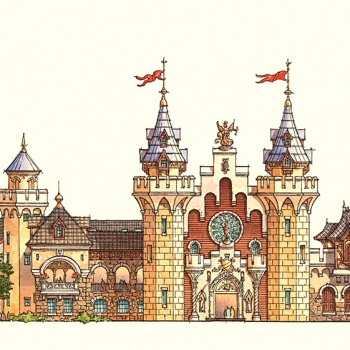 Hand Illustrated Watercolor Rendering of Dalian Architectural Elevation for HHCP
