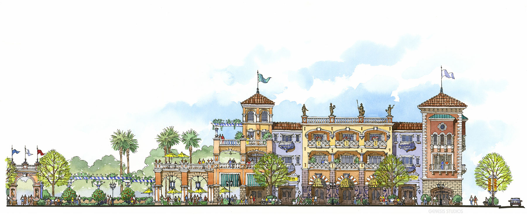 Watercolor Illustration of an Architectural Elevation for Veranda Partners