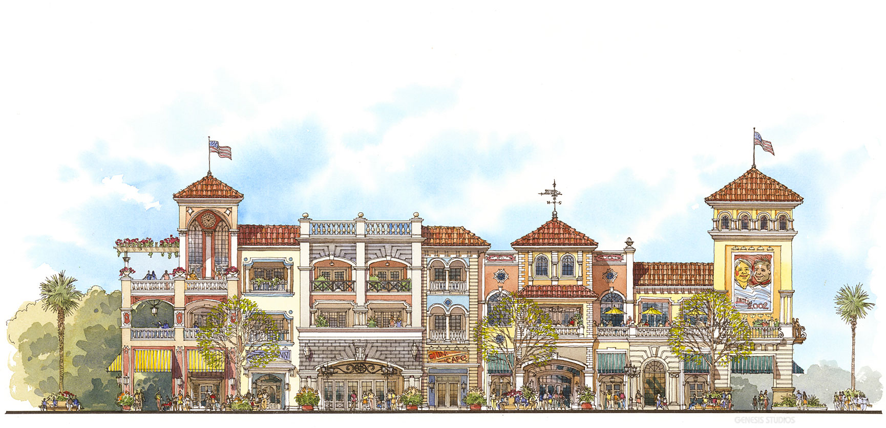 Watercolor Architectural Drawing of an Elevation for Veranda Partners