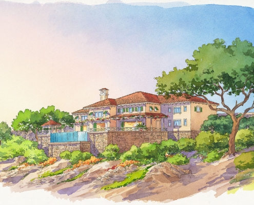 15264 Watercolor Architectural Rendering of Ritz Residential for WATG