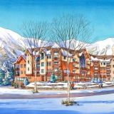 16008 Pen & Ink with Watercolor Architectural Renderingf of South Peak Resort at Loon Mountain for Centex