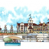 Hand Drawn Architectural Elevation of Marina City for HHCP Architects