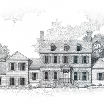 Pen & Ink Architectural Rendering of Single Family Home Elevation on Sugarloaf Mountain for Landmar Group