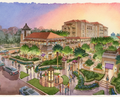 212008 Watercolor Architectural Rendering of Alfond Inn from an Aerial View at Dusk for Baker Barrios Architects