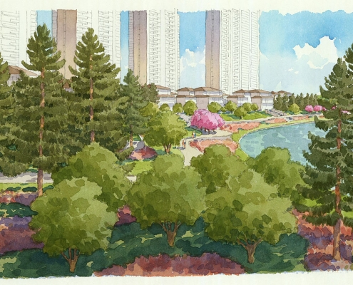 414190 Loose Watercolor Architectural Rendering of Wuhan Forest for EDSA