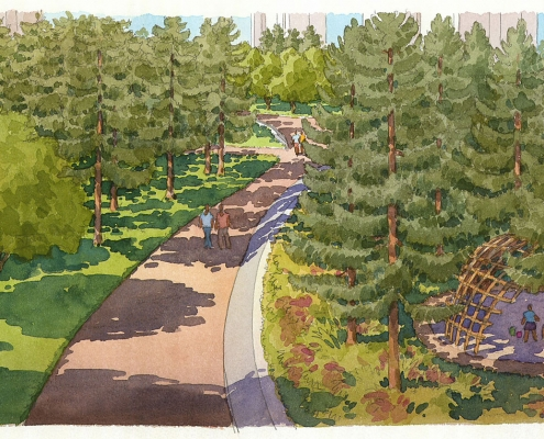 414190 Loose Watercolor Architectural Rendering of Wuhan Hiking Path for EDSA