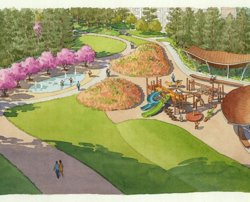 414190 Loose Watercolor Architectural Rendering of Wuhan Playground for EDSA