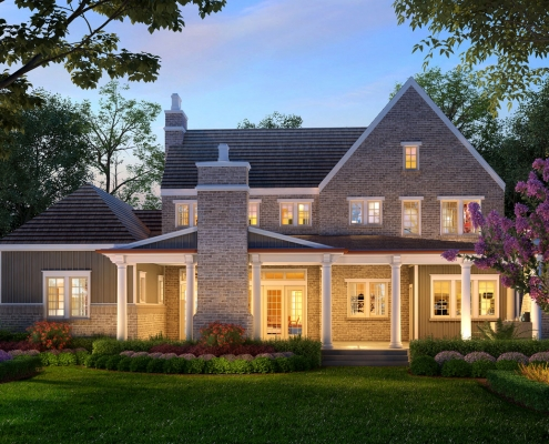 616161 Digital Photorealistic Architectural Renderings of Villa A1 at Dusk for The Grove
