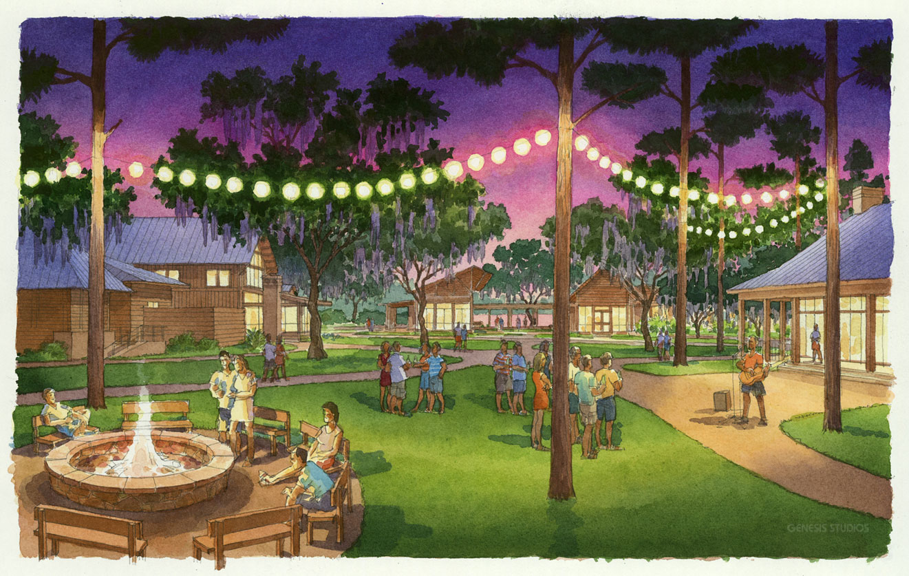 515004 Watercolor Architectural Rendering of Palmetto Bluff Lawn at Dusk for Crescent Communities