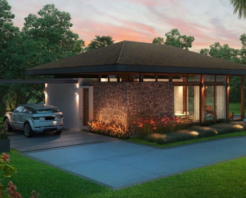 515066 Digital Photorealistic Architectural Rendering of Arenal Hills Luxury Vacation Home for Costa Rica Land Capital Partners