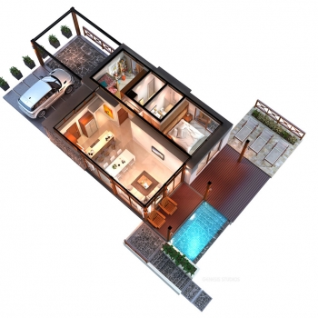 515066 3-Dimensional Digital Cutaway Floor Plan of Arenal Hills Luxury Vacation Home for Costa Rica Land Capital Partners