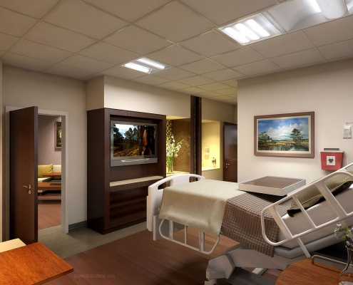 3D Photorealistic Architectural Renderings of Wesley Chapel Healthcare Patient Room for Hunton Brady Architects