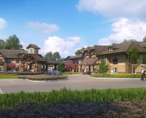515081 Digital Photorealistic Architectural Rendering of Celebration Village Exterior for Senior Lifestyle Corporation