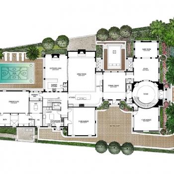 515088 Watercolor Floor Plan of Four Seasons Private Residences Lot 18 for Clayton Jones
