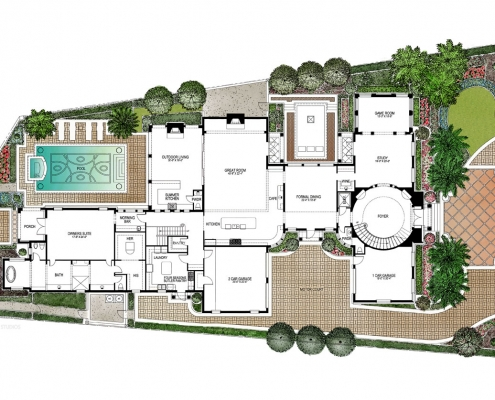 515088 Watercolor Floor Plan of Four Seasons Private Residences Lot 18 for Clayton Jones