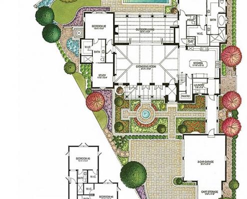 515088 Watercolor Floor Plan of Four Seasons Private Residences Lot 40 for Clayton Jones