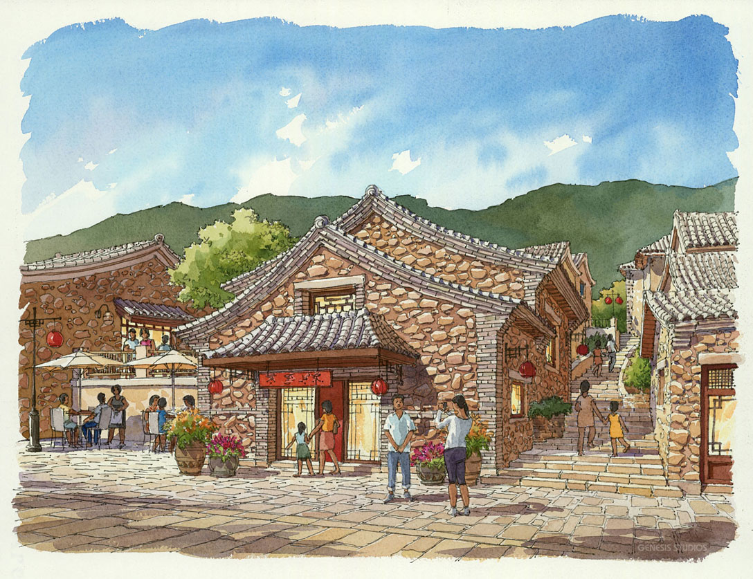 515089 Watercolor Architectural Rendering of Tianzishan Lotus Entry for Stantec