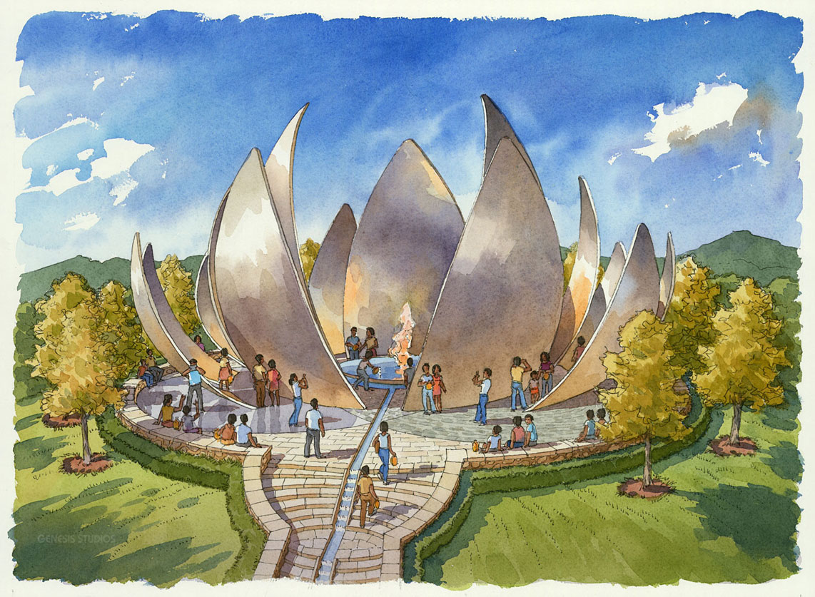 515089 Watercolor Architectural Rendering of Tianzishan Lotus Fire Pit for Stantec