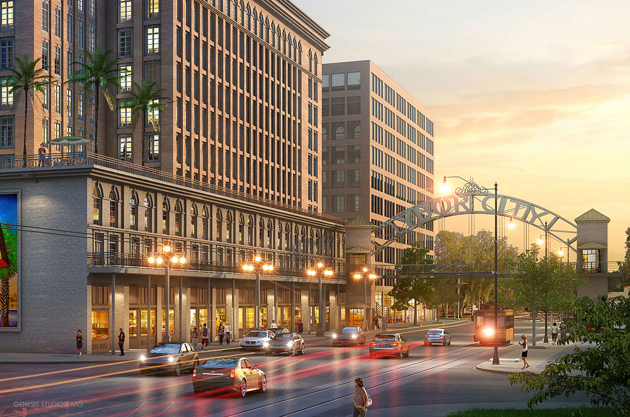 515097 Digital Photorealistic Architectural Rendering of Gas Worx at Sunset for Phillips Development