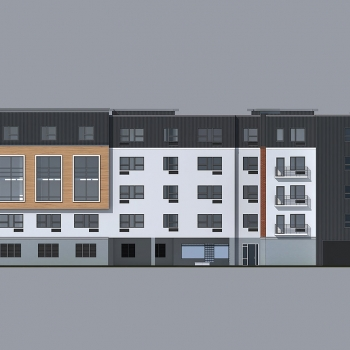 Digital Architectural Renderings of North District Lofts Multi Family Housing Elevation for Greenview Properties