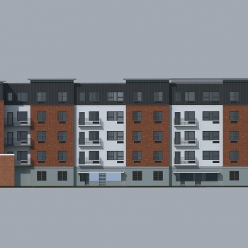 3D Architectural Renderings of North District Lofts Multi Family Housing Elevation for Greenview Properties