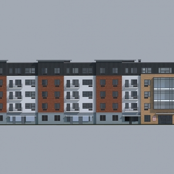 Multi Family Housing Architectural Renderings of North District Lofts Elevation for Greenview Properties