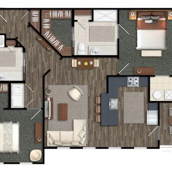 515136 2-Dimensional Digital Floor Plan of Greymore Flats for Greenview Properties