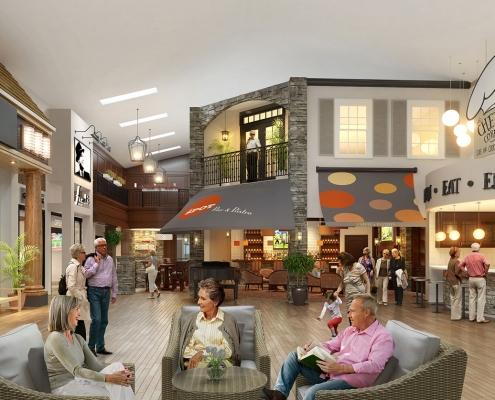 Digital Photorealistic Architectural Rendering of Celebration Village Interior Atrium for Active Senior Concepts