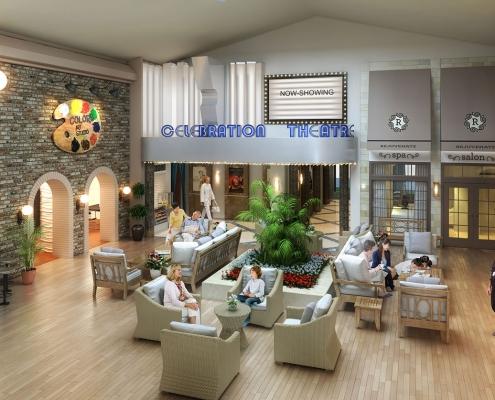 Digital Photorealistic Architectural Rendering of Celebration Village Senior Living Facility Interior Atrium for Active Senior Concepts