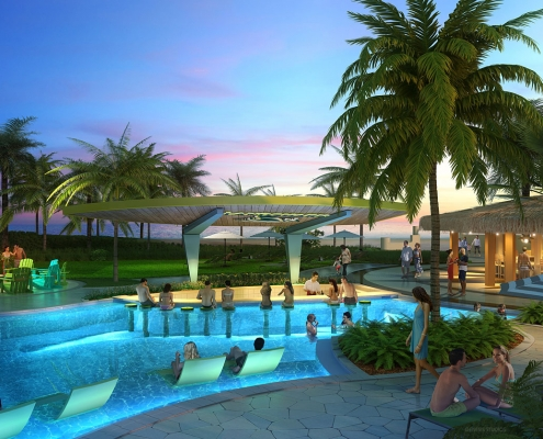 515154 Digital Photorealistic Architectural Rendering of Wyndham Pool Bar for EDSA