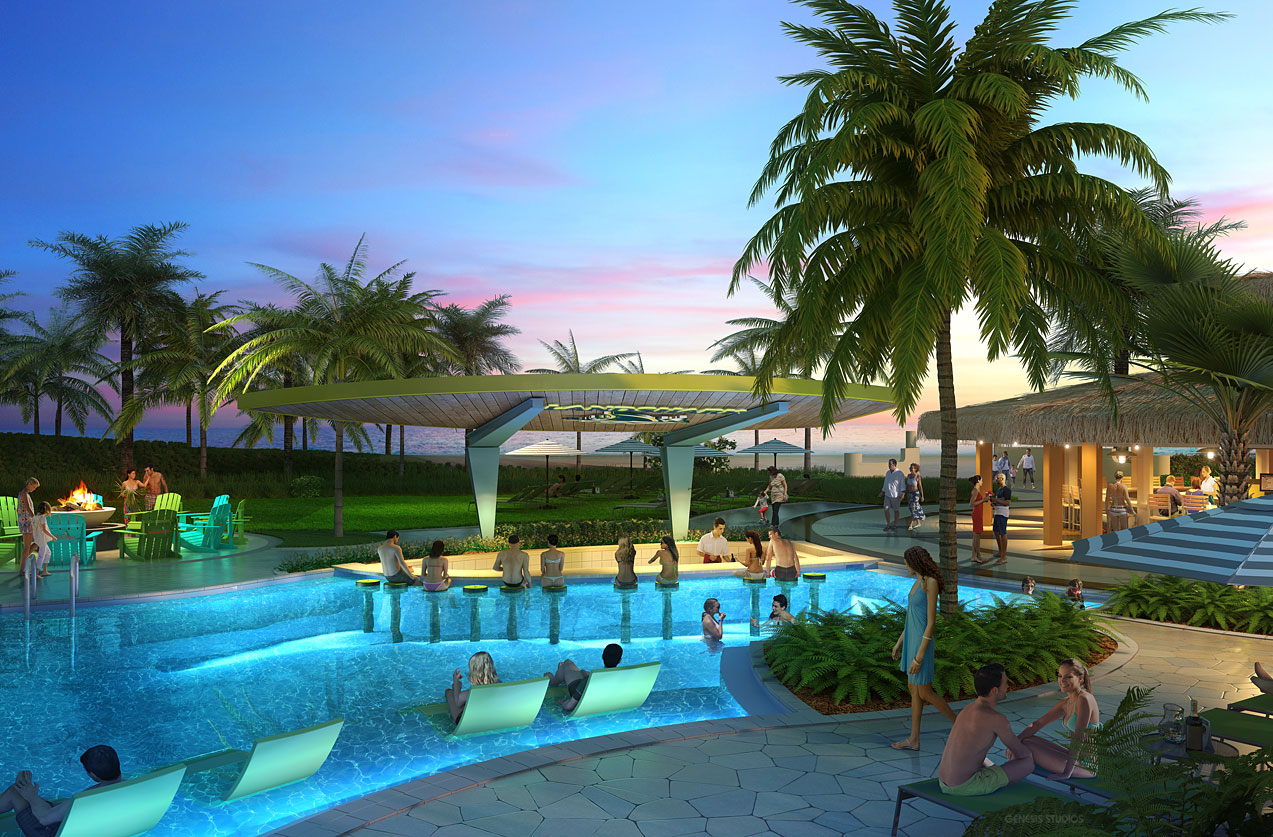 515154 Digital Photorealistic Architectural Rendering of Wyndham Pool Bar for EDSA