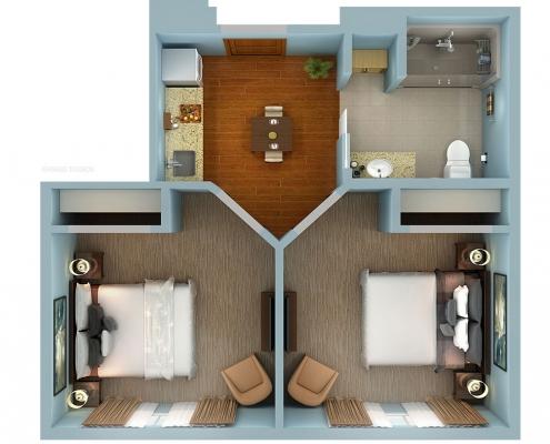 616040 3-Dimensional Cutaway Floor Plan of Sunny Vista for Capella Living Solutions
