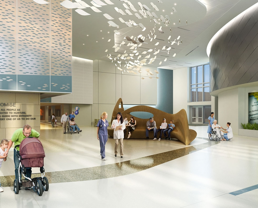 3D Healthcare Renderings of Lakeland Regional Medical Center Lobby for Hunton Brady
