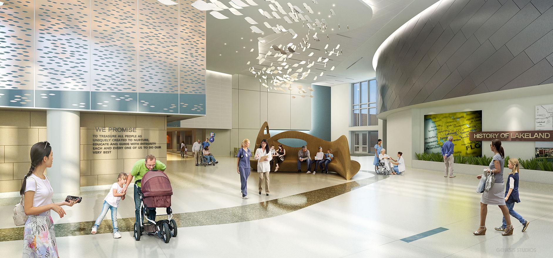 3D Healthcare Renderings of Lakeland Regional Medical Center Lobby for Hunton Brady