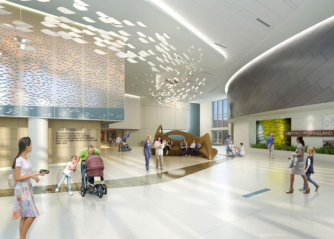 3D Architectural Renderings of Lakeland Regional Medical Center Healthcare Pavilion for Women and Children Lobby