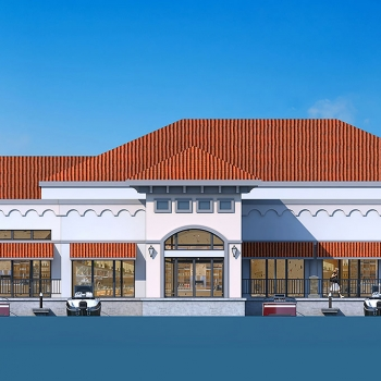 Digital Architectural Elevation Render of The Harbor Restaurant for Jim Rosenberg