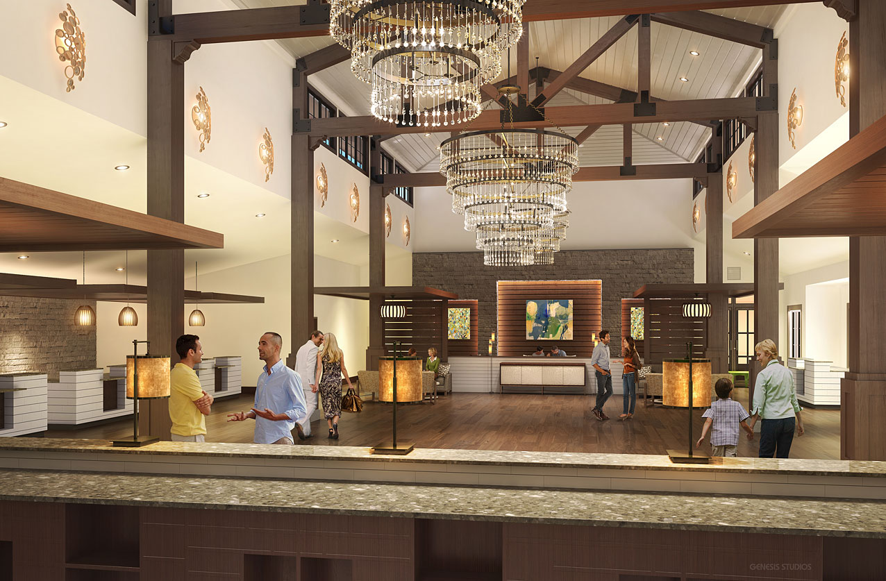 3D Architectural Rendering of Mystic Dunes Clubhouse Interior for Miles Architectural Group