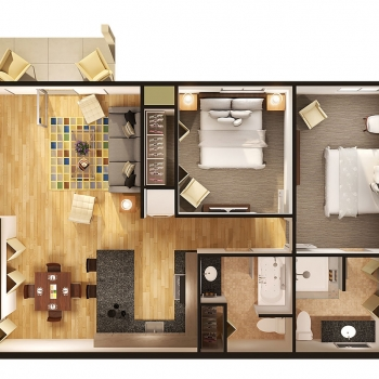 616116 Digital Photorealistic Architectural Rendering of a 3D Cutaway Floor Plan of St Claire for Architectural Resources
