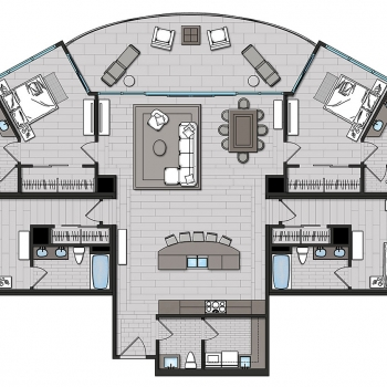 2D Floor Plan of Condo for WJ Weeks Architecture
