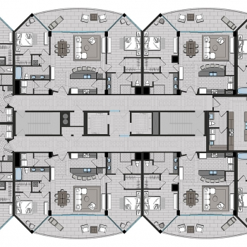 2-D Overall Floor Plan of Condo for WJ Weeks Architecture