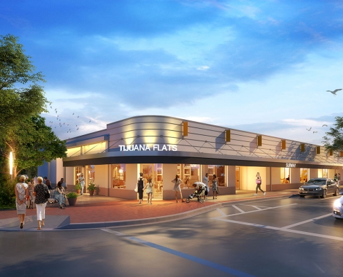 Digital Photorealistic Renderings of Tijuana Flats Retail Exterior at Dusk for Hunton Brady Architects
