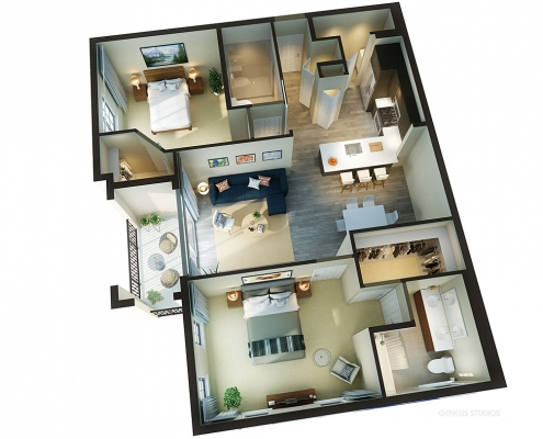616159 3-Dimensional Digital Floor Plan with a Cutaway View of Mirador Doral for RAM Realty Services