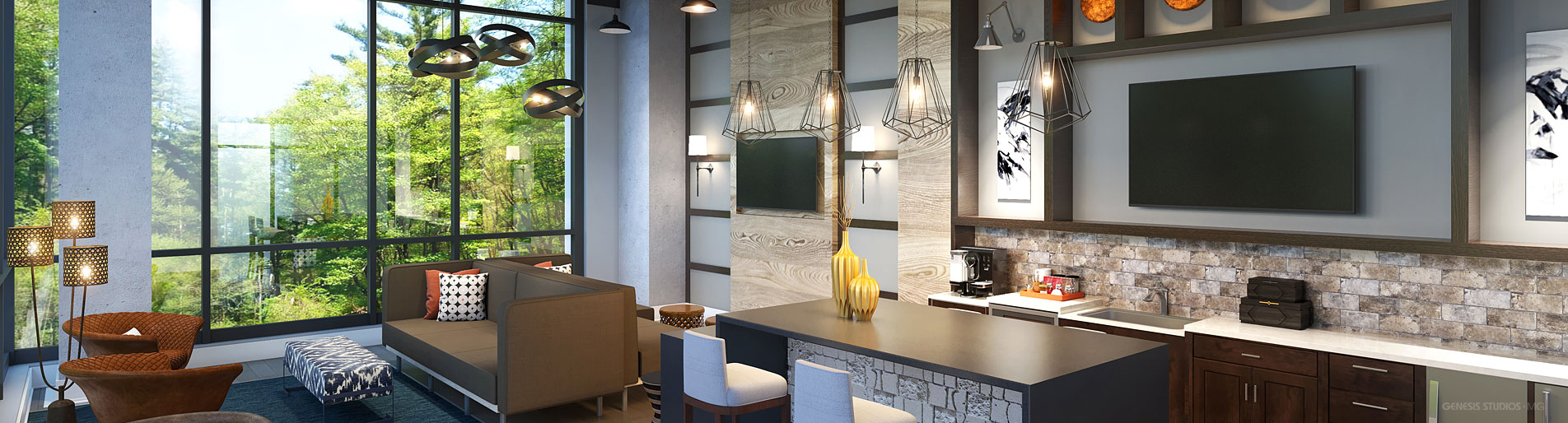 616160 Digital Photorealistic Architectural Renderings of Durham Exchange Clubroom for RAM Realty Services
