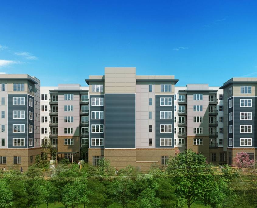 3D Architectural Renderings of Durham Exchange Multi Family Housing Elevation for RAM Realty Services