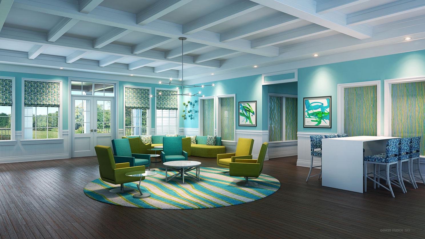 Single Family Homes 3D Architectural Rendering of Hampton Lakes Common Room for Rhett Alexander Architects