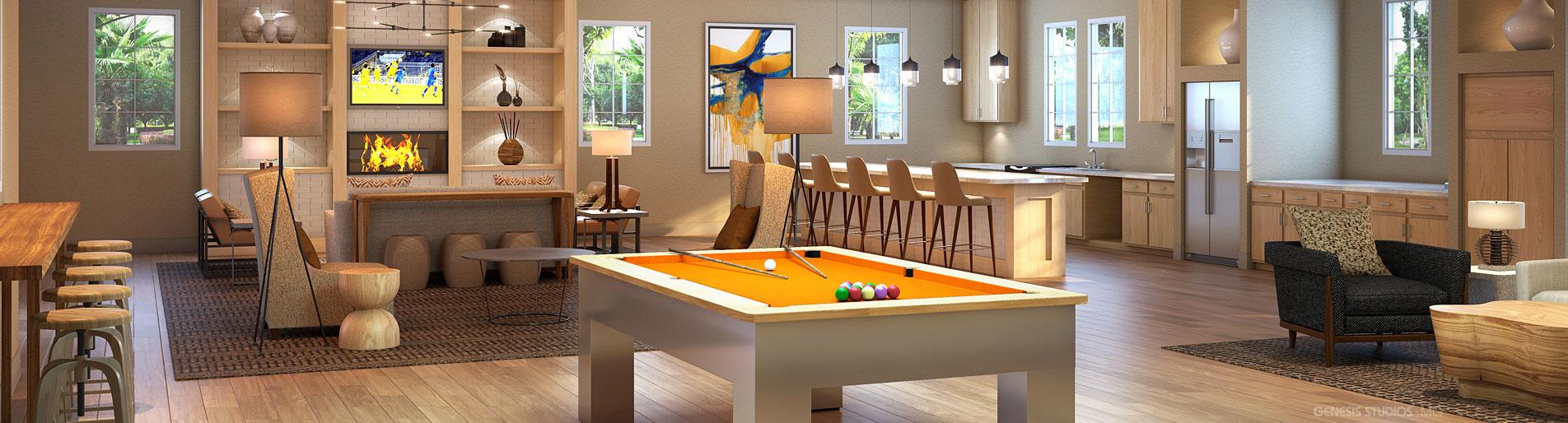 717034 Digital Photorealistic Architectural Renderings of Monterrey Village II Clubroom for MSA Interiors