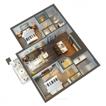 717052 Digital Photorealistic Floor Plan of Cortina with a Cutaway View for RAM Realty Services