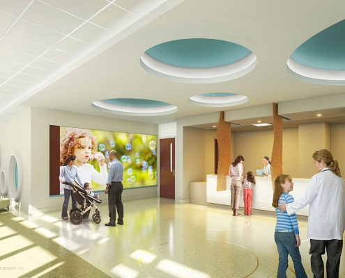 3D Photorealistic Architectural Renderings of Lakeland Regional Medical Center Health Care Facility Loby for Hunton Brady Architects