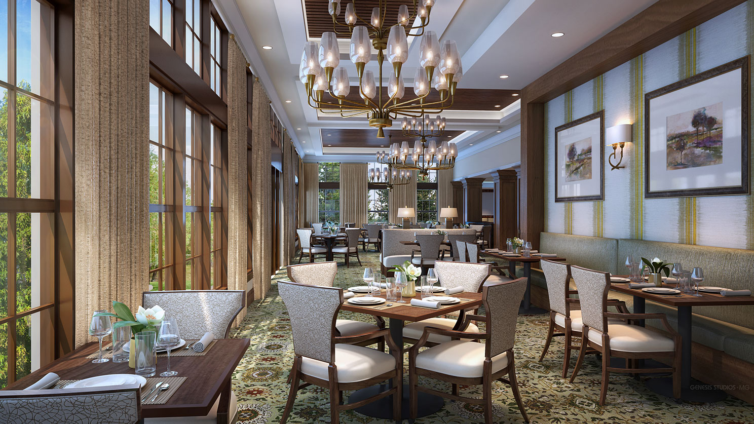 3D Rendering -Digital Photorealistic Architectural Renderings of Snellville Senior Living Dining Room for Senior Lifestyle Corporation